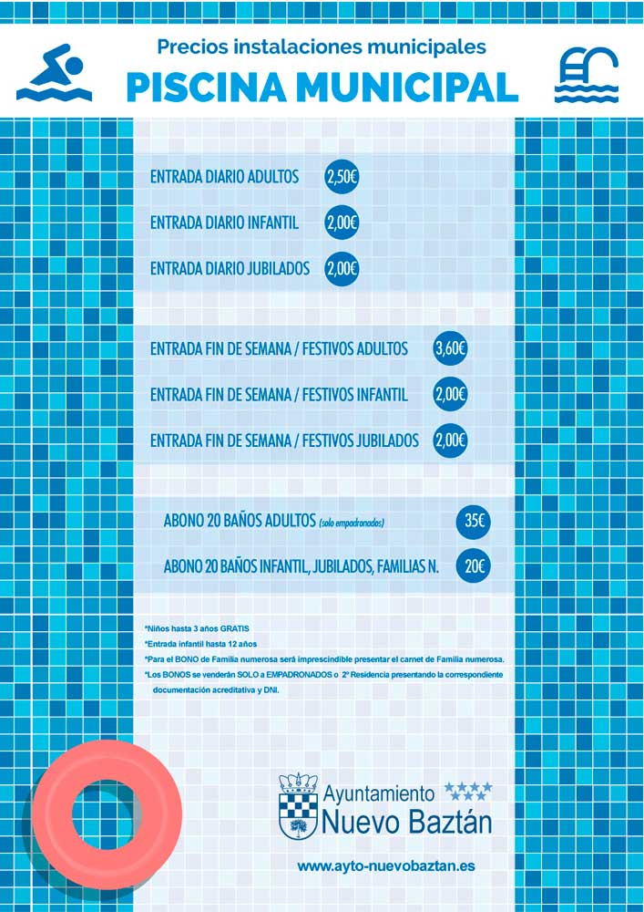 Cartel precios piscina municipal