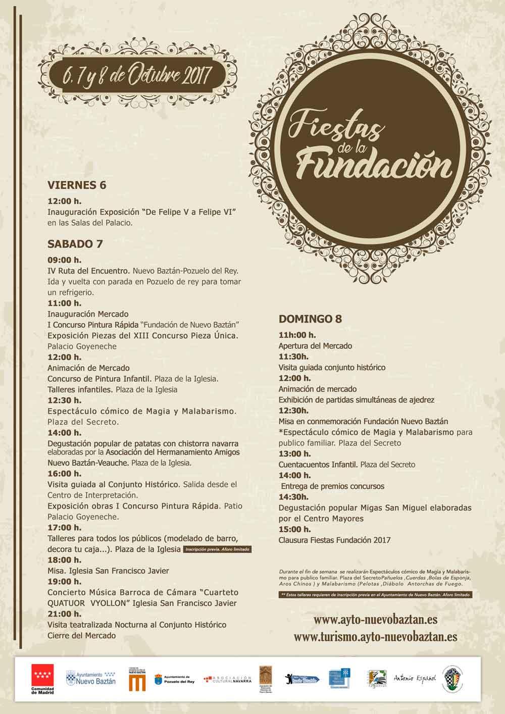 Cartel Programación Fiestas Fundación Nuevo Baztán