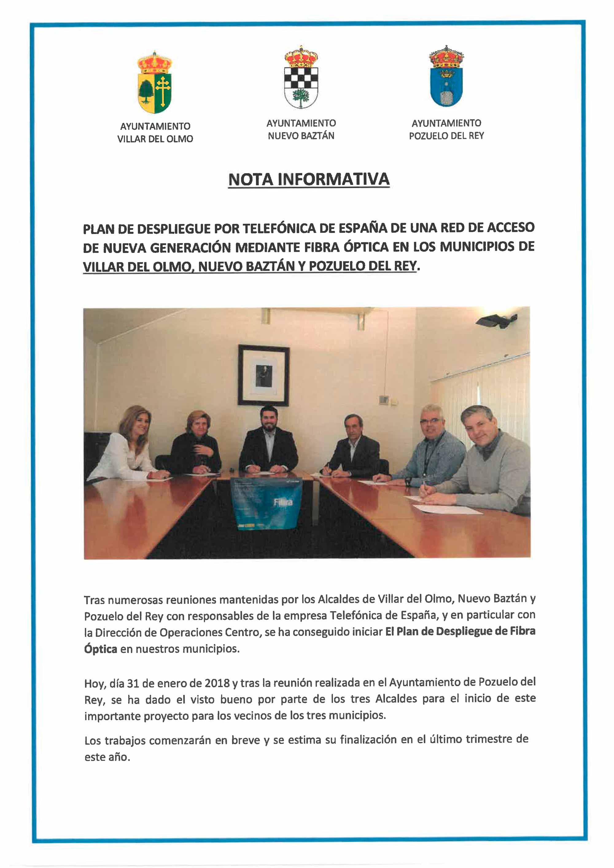 Firma para el despliegue de fibra en Nuevo Baztán, Villar del Olmo y Pozuelo del Rey
