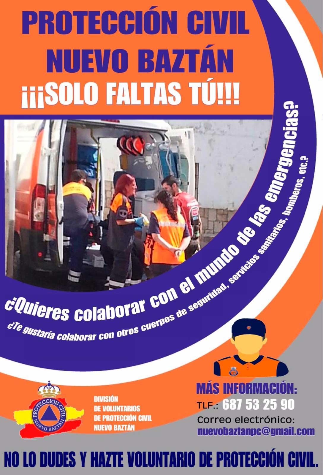 Cartel voluntarios de Protección Civil Nuevo Baztán