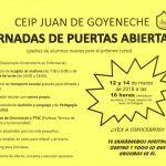Jornada de Puertas abiertas del C.E.I.P Juan de Goyeneche 2018