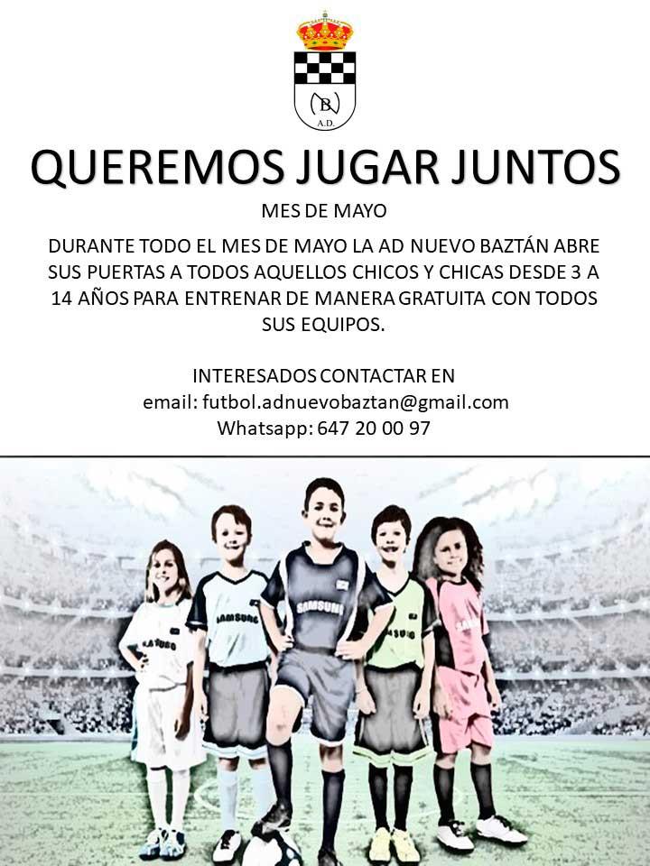 """Agrupación Deportiva Nuevo Baztán campaña """"Queremos Jugar Juntos""""."""