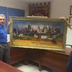 El Salón de Plenos del Consistorio viste sus paredes con otra de las grandes obras del pintor neobaztanés Rafael Velasco.