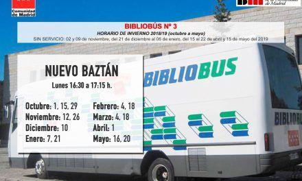 Horario invierno BiblioBus en Nuevo Baztán (octubre a mayo)