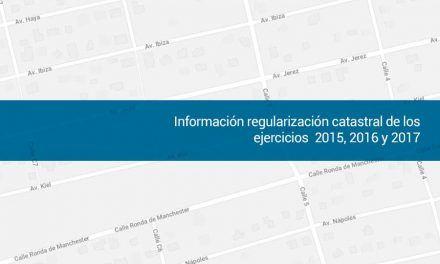 Información regularización catastral de los ejercicios 2015, 2016 y 2017