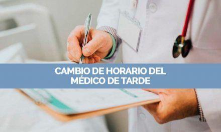 Nota informativa: Cambio de horario del Médico de tarde en Nuevo Baztán