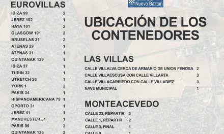 Listado de ubicación de los contenedores en urbanizaciones