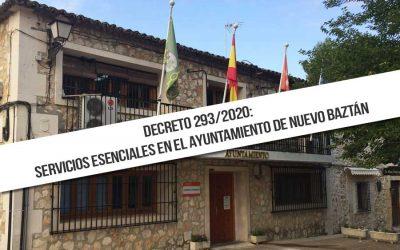 Decreto 293/2020: Servicios Esenciales en el Ayuntamiento de Nuevo Baztán