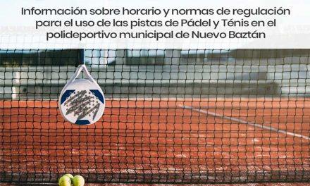 Información sobre horario y normas de regulación para el uso de las pistas de Pádel y Ténis en el polideportivo municipal de Nuevo Baztán